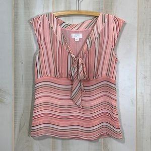 Loft Petites Pink Stripe Tie Front Top 6P
